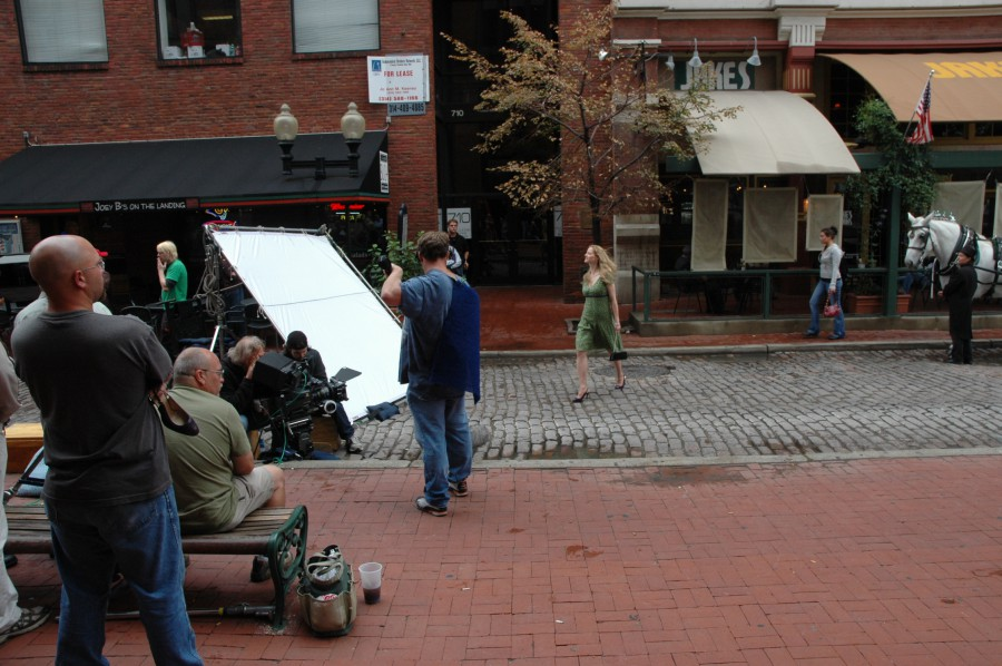 Production shot of corporate video taping in St Louis Laclede's Landing Area.